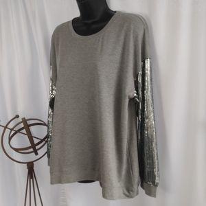 Women's Sequined casual oversize long sleeve top